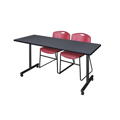 Regency 66L x 24W  Kobe Mobile Training Table- Grey & 2 Zeng Stack Chairs- Burgundy (MKCC6624GY44BY)
