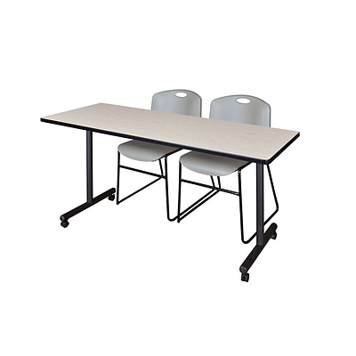 Regency 66L x 24W  Kobe Mobile Training Table- Maple & 2 Zeng Stack Chairs- Grey (MKCC6624PL44GY)