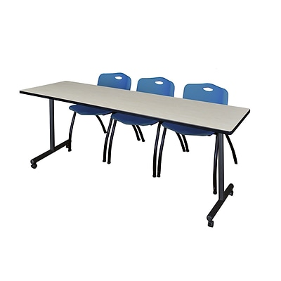 Regency 84L x 24W  Kobe Mobile Training Table- Maple & 3 M Stack Chairs- Blue (MKCC8424PL47BE)
