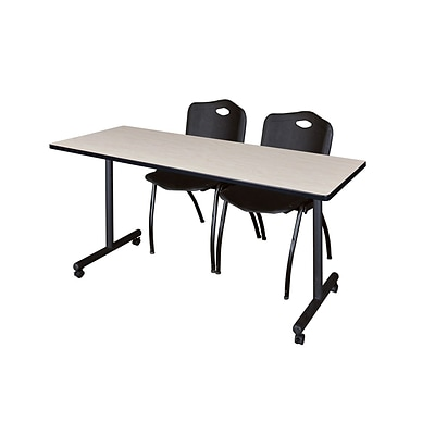 Regency 66L x 24W  Kobe Mobile Training Table- Maple & 2 M Stack Chairs- Black (MKCC6624PL47BK)