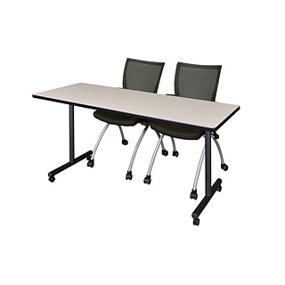 Regency 66L x 24W  Kobe Mobile Training Table- Maple & 2 Apprentice Chairs- Black (MKCC6624PL09BK)