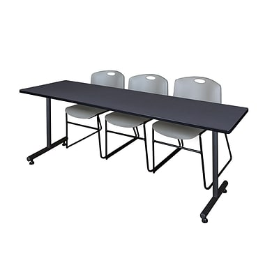 Regency 84L x 24W  Kobe Training Table- Grey & 3 Zeng Stack Chairs- Grey (MKTR8424GY44GY)