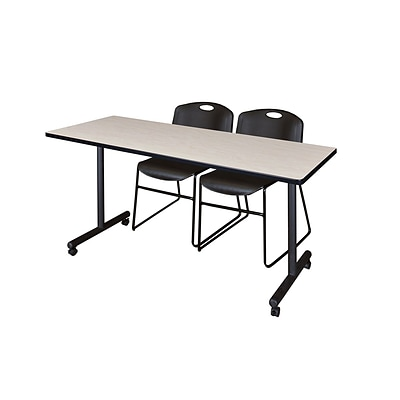 Regency 66L x 24W  Kobe Mobile Training Table- Maple & 2 Zeng Stack Chairs- Black (MKCC6624PL44BK)