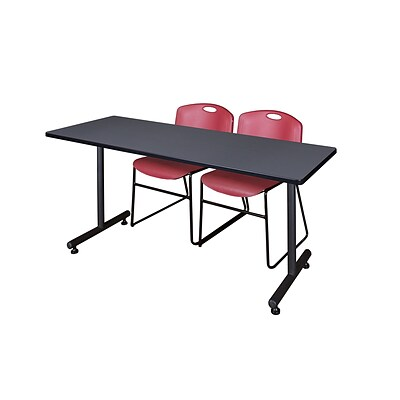 Regency 66L x 24W  Kobe Training Table- Grey & 2 Zeng Stack Chairs- Burgundy (MKTR6624GY44BY)