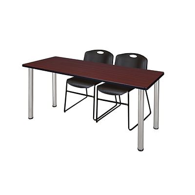 Regency 66L x 24W  Kee Training Table- Mahogany/ Chrome & 2 Zeng Stack Chairs- Black (MT6624MHPCM44BK)