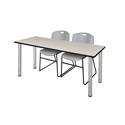 Regency 66L x 24W  Kee Training Table- Maple/ Chrome & 2 Zeng Stack Chairs- Grey (MT6624PLPCM44GY)