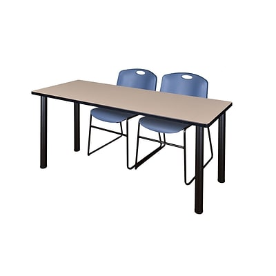 Regency 72L x 24W  Kee Training Table- Beige/ Black & 2 Zeng Stack Chairs- Blue (MT7224BEPBK44BE)