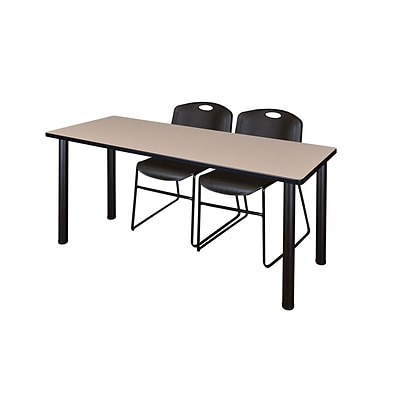 Regency 72L x 24W  Kee Training Table- Beige/ Black & 2 Zeng Stack Chairs- Black (MT7224BEPBK44BK)