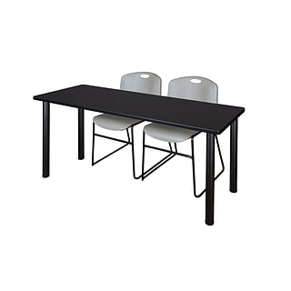 Regency 66L x 24W  Kee Training Table- Mocha Walnut/ Black & 2 Zeng Stack Chairs- Grey (MT6624MWPB