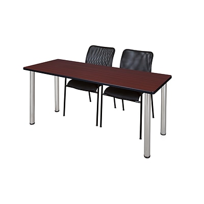 Regency 66L x 24W  Kee Training Table- Mahogany/ Chrome & 2 Mario Stack Chairs- Black (MT6624MHPCM75BK)
