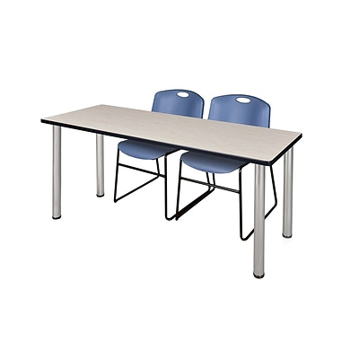 Regency 66L x 24W  Kee Training Table- Maple/ Chrome & 2 Zeng Stack Chairs- Blue (MT6624PLPCM44BE)