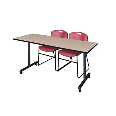 Regency 60L x 24W  Kobe Mobile Training Table- Beige & 2 Zeng Stack Chairs- Burgundy (MKCC6024BE44BY)