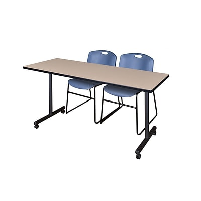 Regency 60L x 24W  Kobe Mobile Training Table- Beige & 2 Zeng Stack Chairs- Blue (MKCC6024BE44BE)