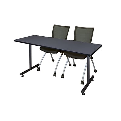 Regency 72L x 24W  Kobe Training Table- Grey & 2 Apprentice Chairs- Black (MKTR7224GY09BK)