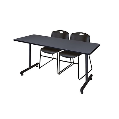 Regency 72L x 24W  Kobe Training Table- Grey & 2 Zeng Stack Chairs- Black (MKTR7224GY44BK)