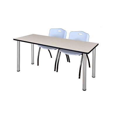 Regency 72L x 24W  Kee Training Table- Maple/ Chrome & 2 M Stack Chairs- Grey (MT7224PLPCM47GY)