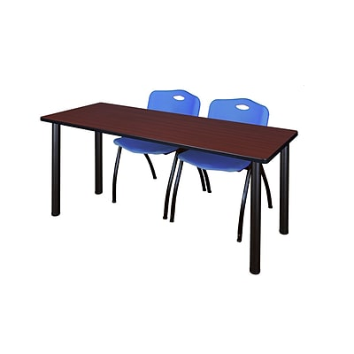 Regency 72L x 24W  Kee Training Table- Mahogany/ Black & 2 M Stack Chairs- Blue (MT7224MHPBK47BE)