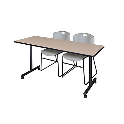 Regency 66L x 24W  Kobe Mobile Training Table- Beige & 2 Zeng Stack Chairs- Grey (MKCC6624BE44GY)