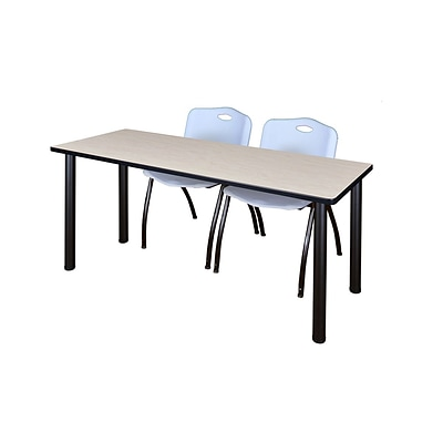 Regency 66L x 24W  Kee Training Table- Maple/ Black & 2 M Stack Chairs- Grey (MT6624PLPBK47GY)