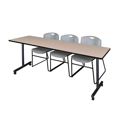 Regency 84L x 24W  Kobe Mobile Training Table- Beige & 3 Zeng Stack Chairs- Grey (MKCC8424BE44GY)