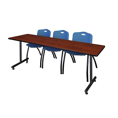 Regency 84L x 24W  Kobe Training Table- Cherry & 3 M Stack Chairs- Blue (MKTR8424CH47BE)