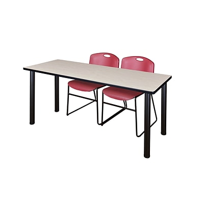 Regency 72L x 24W  Kee Training Table- Maple/ Black & 2 Zeng Stack Chairs- Burgundy (MT7224PLPBK44BY)