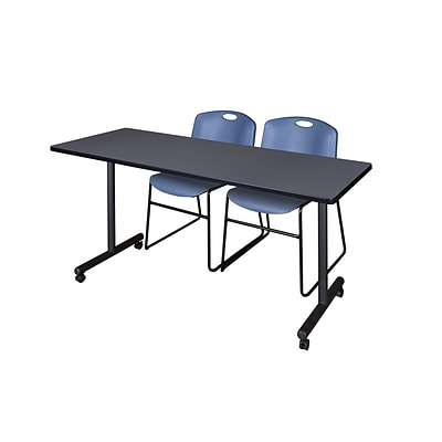 Regency 60L x 24W  Kobe Mobile Training Table- Grey & 2 Zeng Stack Chairs- Blue (MKCC6024GY44BE)
