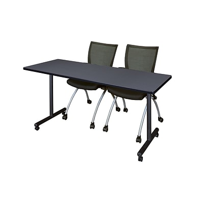 Regency 60L x 24W  Kobe Mobile Training Table- Grey & 2 Apprentice Chairs- Black (MKCC6024GY09BK)