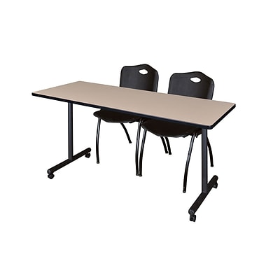 Regency 66L x 24W  Kobe Mobile Training Table- Beige & 2 M Stack Chairs- Black (MKCC6624BE47BK)