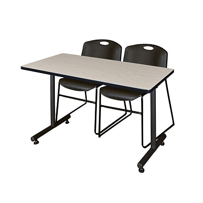 Regency 48L x 24W  Kobe Training Table- Maple & 2 Zeng Stack Chairs- Black (MKTR4824PL44BK)