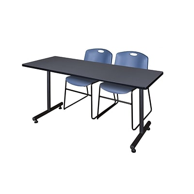 Regency 66L x 24W  Kobe Training Table- Grey & 2 Zeng Stack Chairs- Blue (MKTR6624GY44BE)