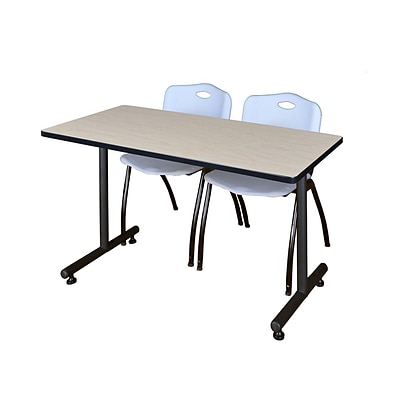 Regency 48L x 24W  Kobe Training Table- Maple & 2 M Stack Chairs- Grey (MKTR4824PL47GY)