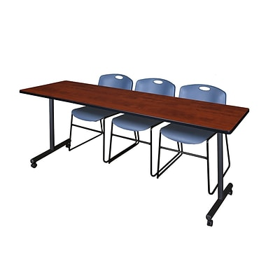 Regency 84L x 24W  Kobe Mobile Training Table- Cherry & 3 Zeng Stack Chairs- Blue (MKCC8424CH44BE)