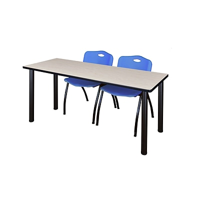 Regency 72L x 24W  Kee Training Table- Maple/ Black & 2 M Stack Chairs- Blue (MT7224PLPBK47BE)