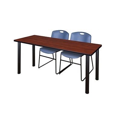 Regency 66L x 24W  Kee Training Table- Cherry/ Black & 2 Zeng Stack Chairs- Blue (MT6624CHPBK44BE)
