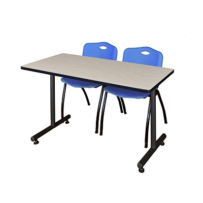 Regency 48L x 24W  Kobe Training Table- Maple & 2 M Stack Chairs- Blue (MKTR4824PL47BE)