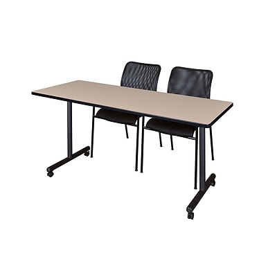 Regency 66L x 24W  Kobe Mobile Training Table- Beige & 2 Mario Stack Chairs- Black (MKCC6624BE75BK)
