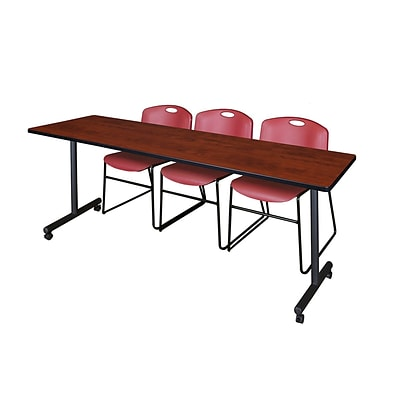 Regency 84L x 24W  Kobe Mobile Training Table- Cherry & 3 Zeng Stack Chairs- Burgundy (MKCC8424CH44BY)