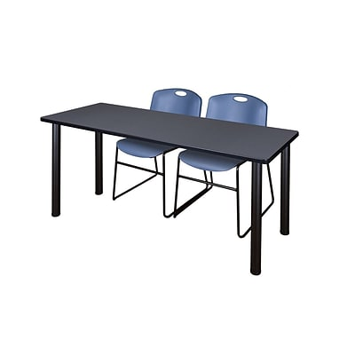 Regency 72L x 24W  Kee Training Table- Grey/ Black & 2 Zeng Stack Chairs- Blue (MT7224GYPBK44BE)