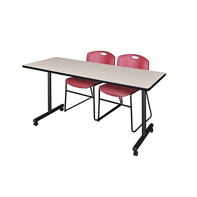 Regency 60L x 24W  Kobe Mobile Training Table- Maple & 2 Zeng Stack Chairs- Burgundy (MKCC6024PL44BY)