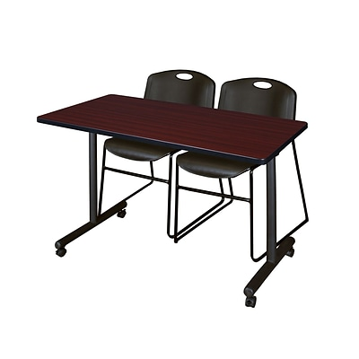 Regency 48L x 24W  Kobe Mobile Training Table- Mahogany & 2 Zeng Stack Chairs- Black (MKCC4824MH44BK)