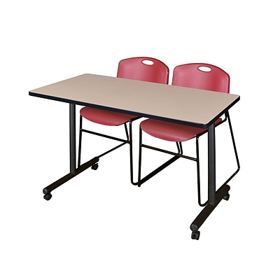 Regency 48L x 24W  Kobe Mobile Training Table- Beige & 2 Zeng Stack Chairs- Burgundy (MKCC4824BE44BY)