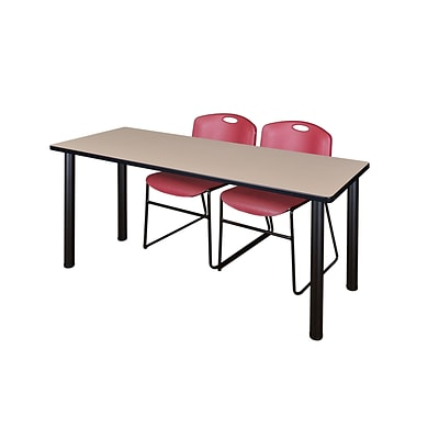 Regency 66L x 24W  Kee Training Table- Beige/ Black & 2 Zeng Stack Chairs- Burgundy (MT6624BEPBK44BY)