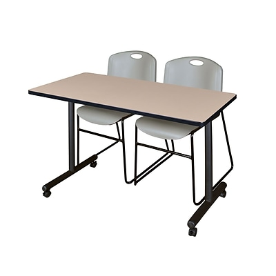 Regency 48L x 24W  Kobe Mobile Training Table- Beige & 2 Zeng Stack Chairs- Grey (MKCC4824BE44GY)