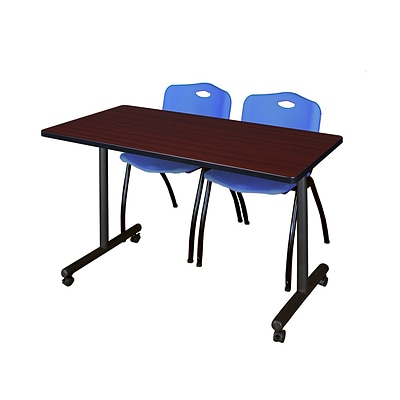 Regency 48L x 24W  Kobe Mobile Training Table- Mahogany & 2 M Stack Chairs- Blue (MKCC4824MH47BE)