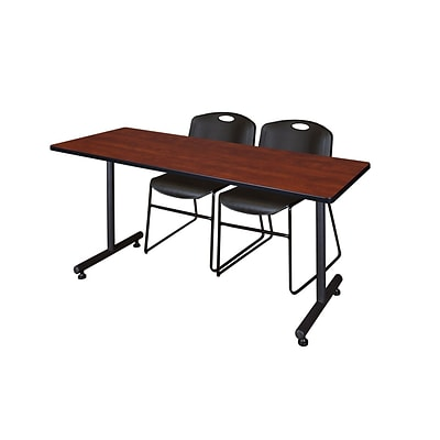 Regency 60L x 24W  Kobe Training Table- Cherry & 2 Zeng Stack Chairs- Black (MKTR6024CH44BK)