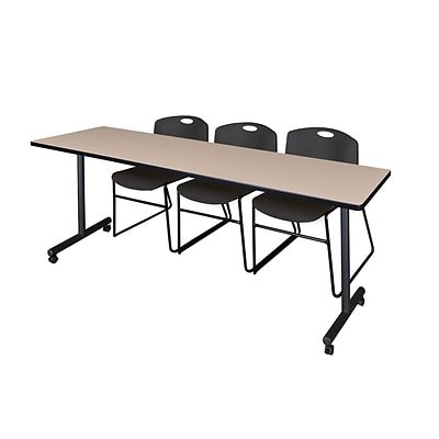 Regency 84L x 24W  Kobe Mobile Training Table- Beige & 3 Zeng Stack Chairs- Black (MKCC8424BE44BK)