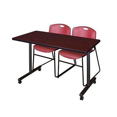 Regency 48L x 24W  Kobe Mobile Training Table- Mahogany & 2 Zeng Stack Chairs- Burgundy (MKCC4824MH44BY)