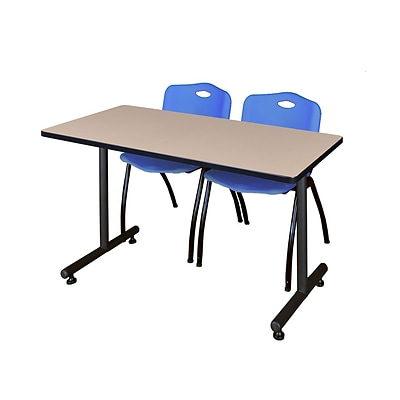 Regency 48L x 24W  Kobe Training Table- Beige & 2 M Stack Chairs- Blue (MKTR4824BE47BE)