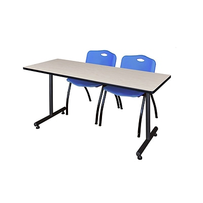 Regency 60L x 24W  Kobe Training Table- Maple & 2 M Stack Chairs- Blue (MKTR6024PL47BE)